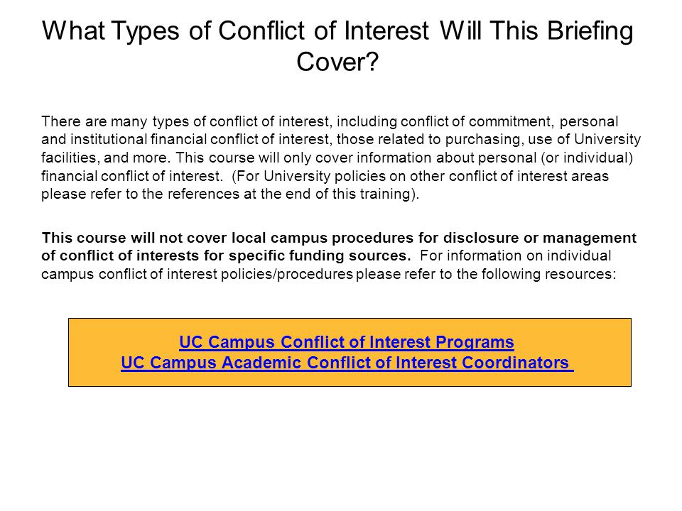 What Types of Conflict of Interest Will This Briefing Cover