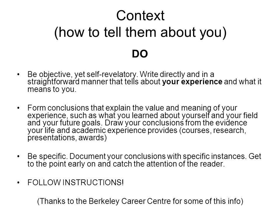 Context (how to tell them about you)