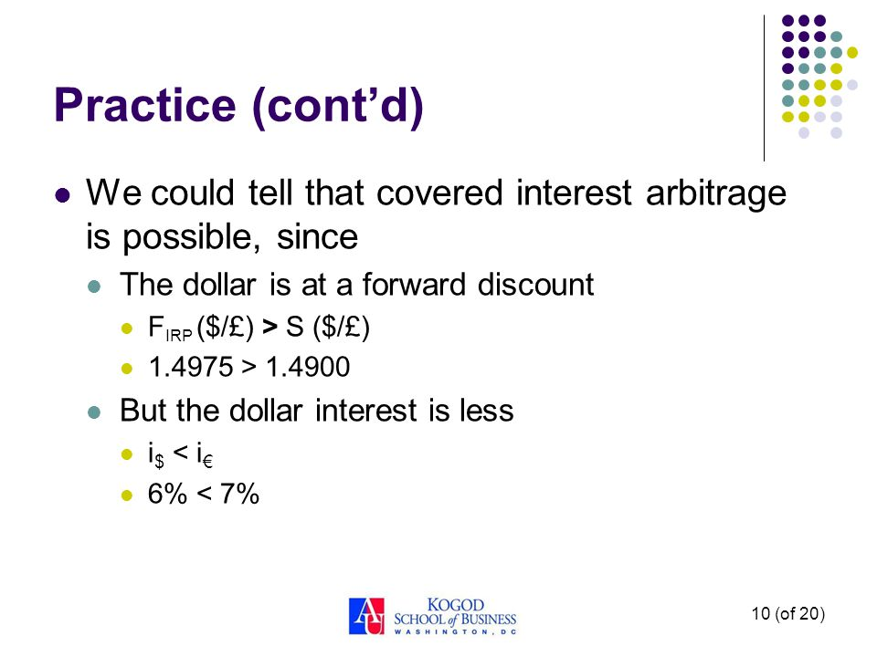 Practice (cont'd) We could tell that covered interest arbitrage is possible, since. The dollar is at a forward discount.