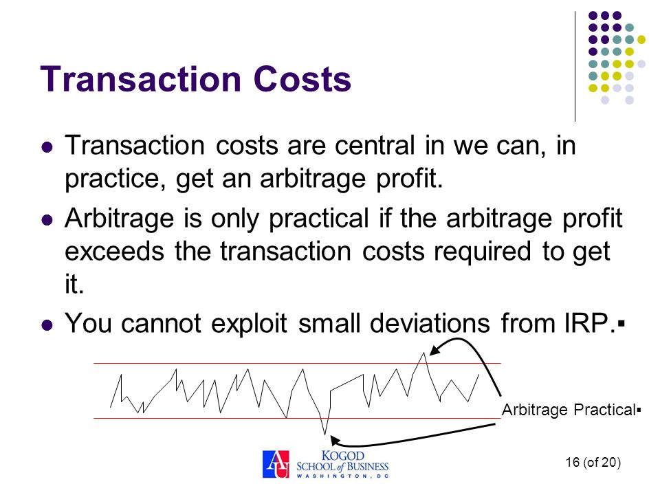 Transaction Costs Transaction costs are central in we can, in practice, get an arbitrage profit.