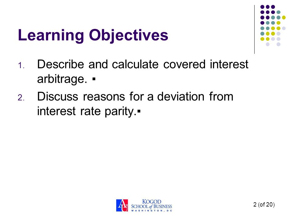 Learning Objectives Describe and calculate covered interest arbitrage.
