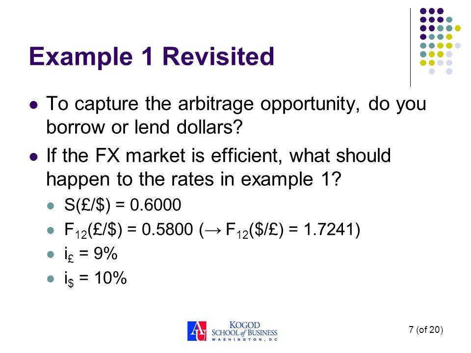Example 1 Revisited To capture the arbitrage opportunity, do you borrow or lend dollars