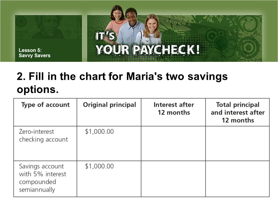 2. Fill in the chart for Maria s two savings options.