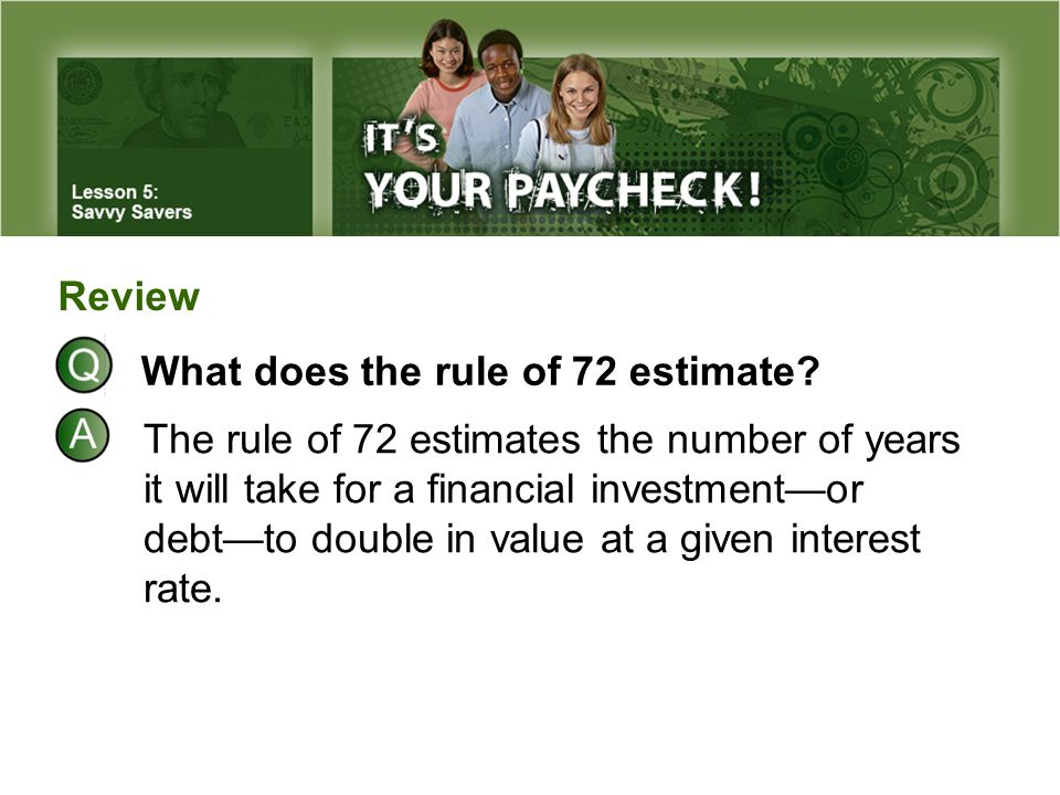 Review What does the rule of 72 estimate