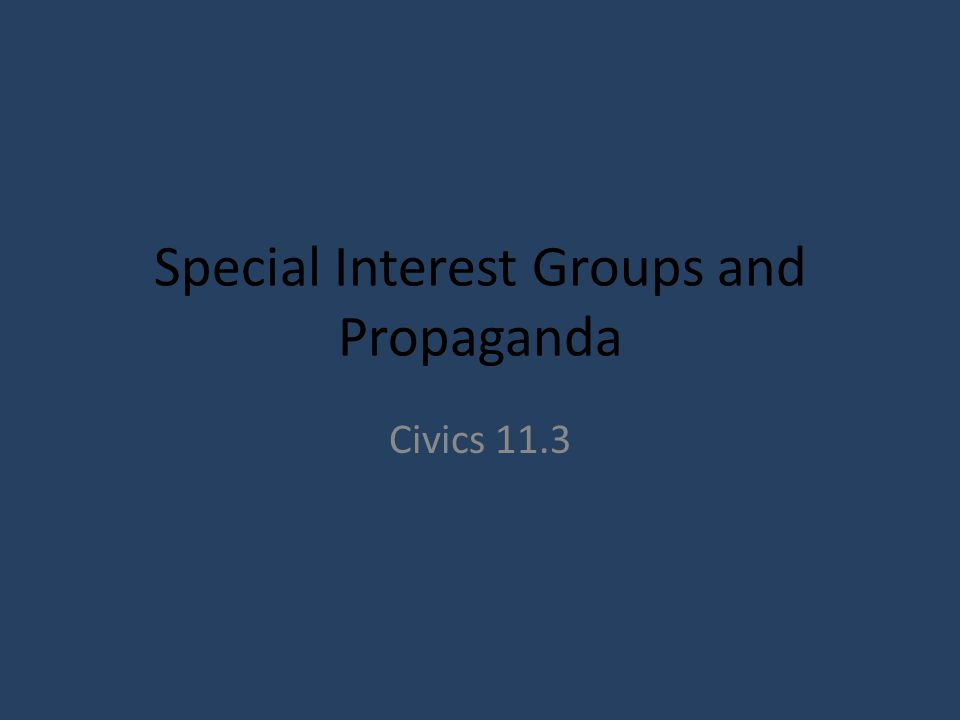 Special Interest Groups and Propaganda