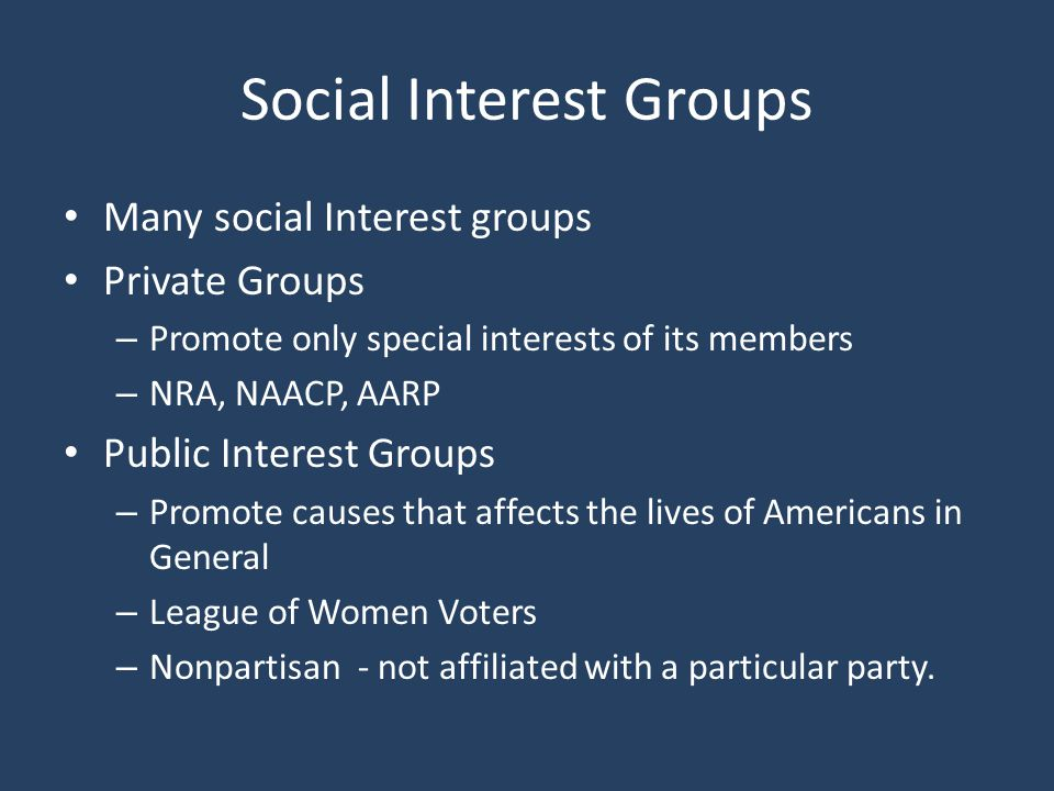 Social Interest Groups
