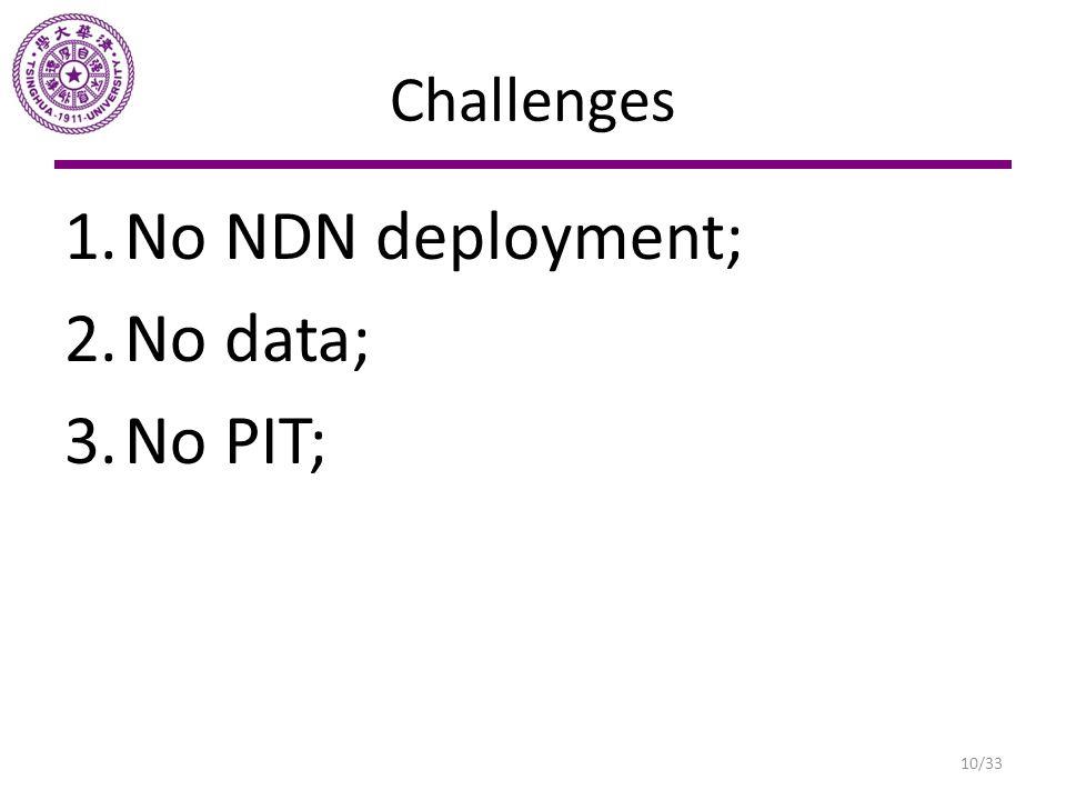 Challenges No NDN deployment; No data; No PIT;