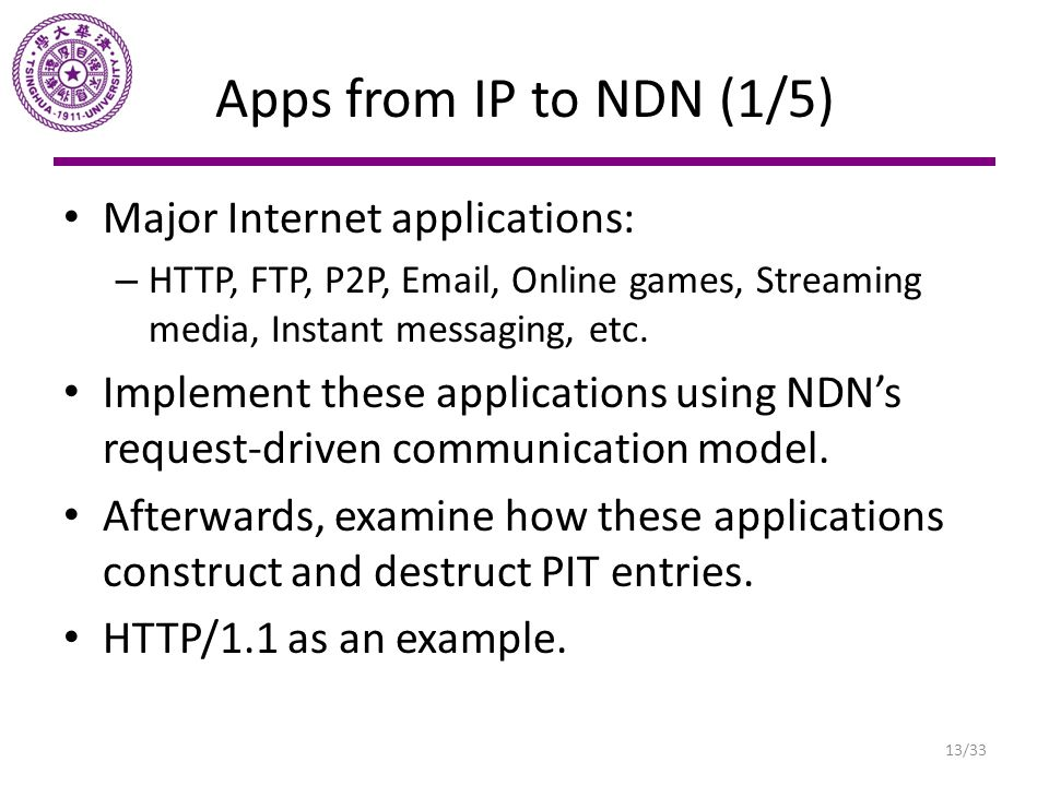 Apps from IP to NDN (1/5) Major Internet applications: