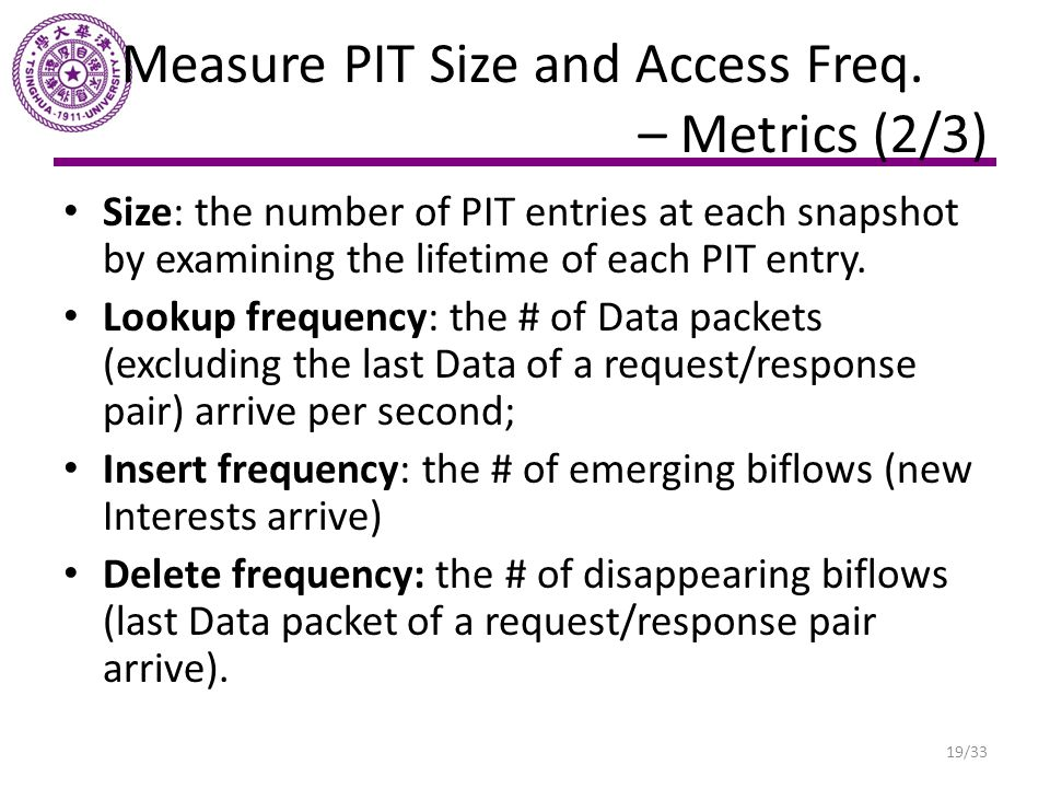 Measure PIT Size and Access Freq. – Metrics (2/3)