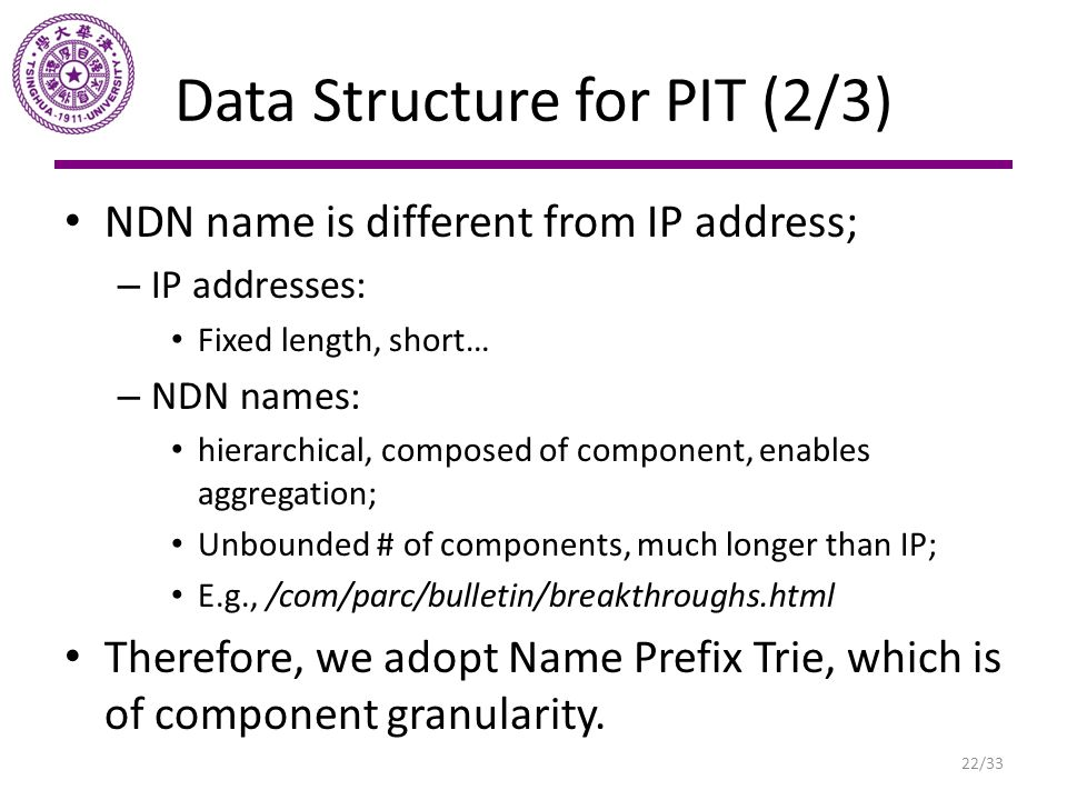 Data Structure for PIT (2/3)