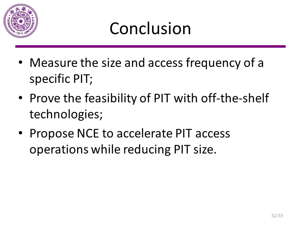Conclusion Measure the size and access frequency of a specific PIT;