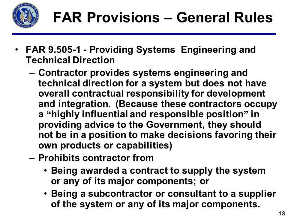 FAR Provisions – General Rules