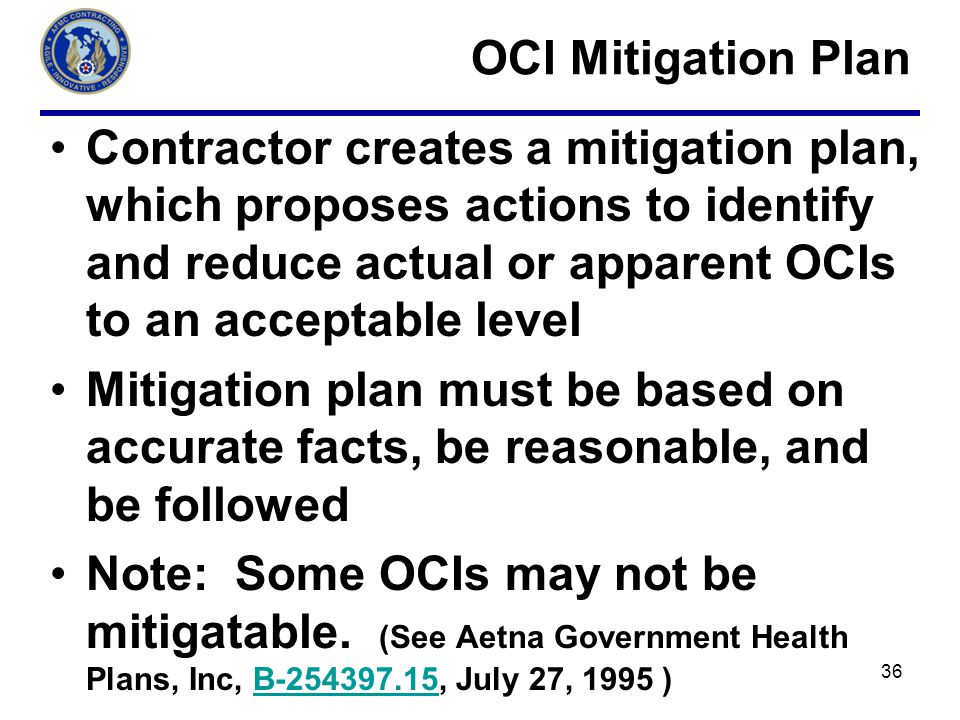 OCI Mitigation Plan