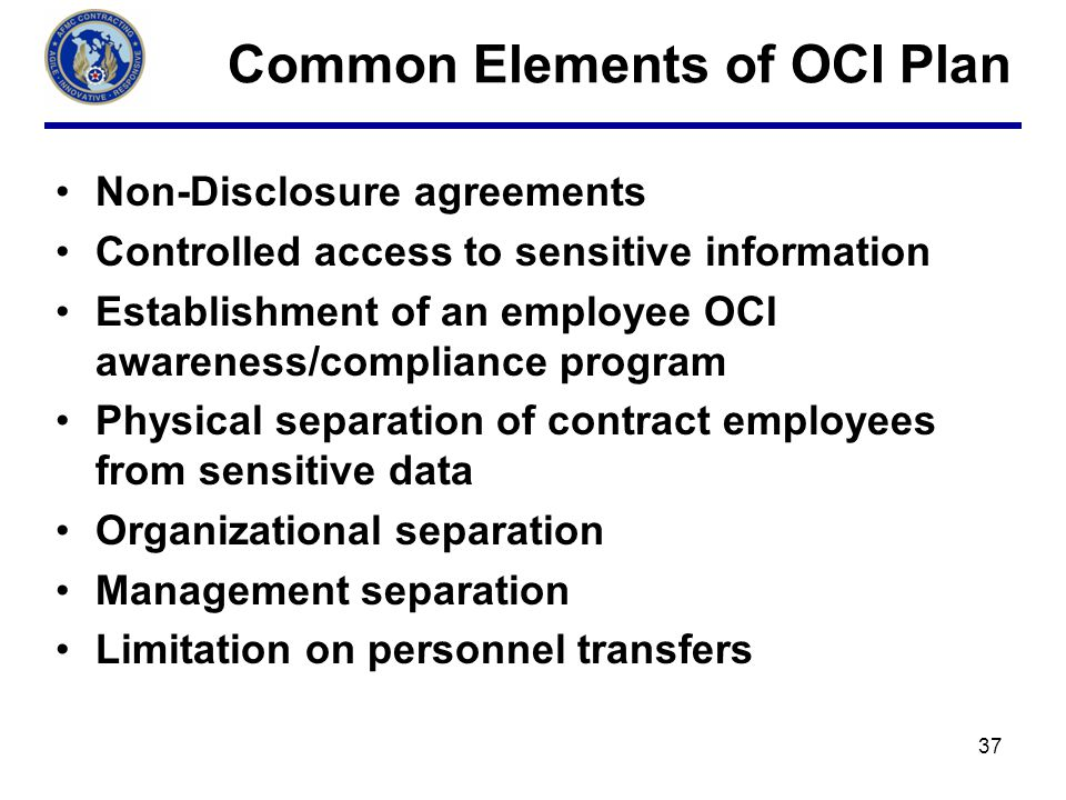 Common Elements of OCI Plan