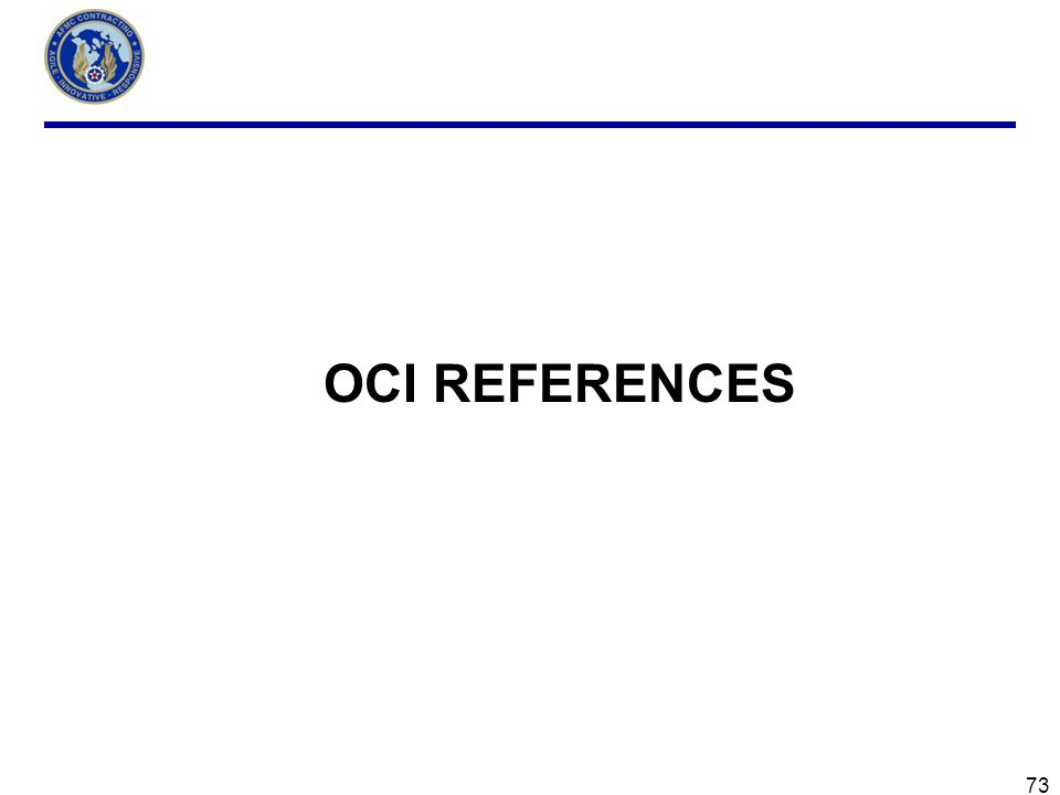 OCI REFERENCES