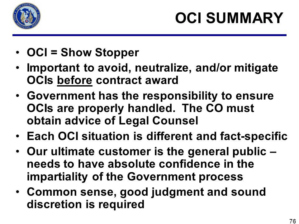 OCI SUMMARY OCI = Show Stopper