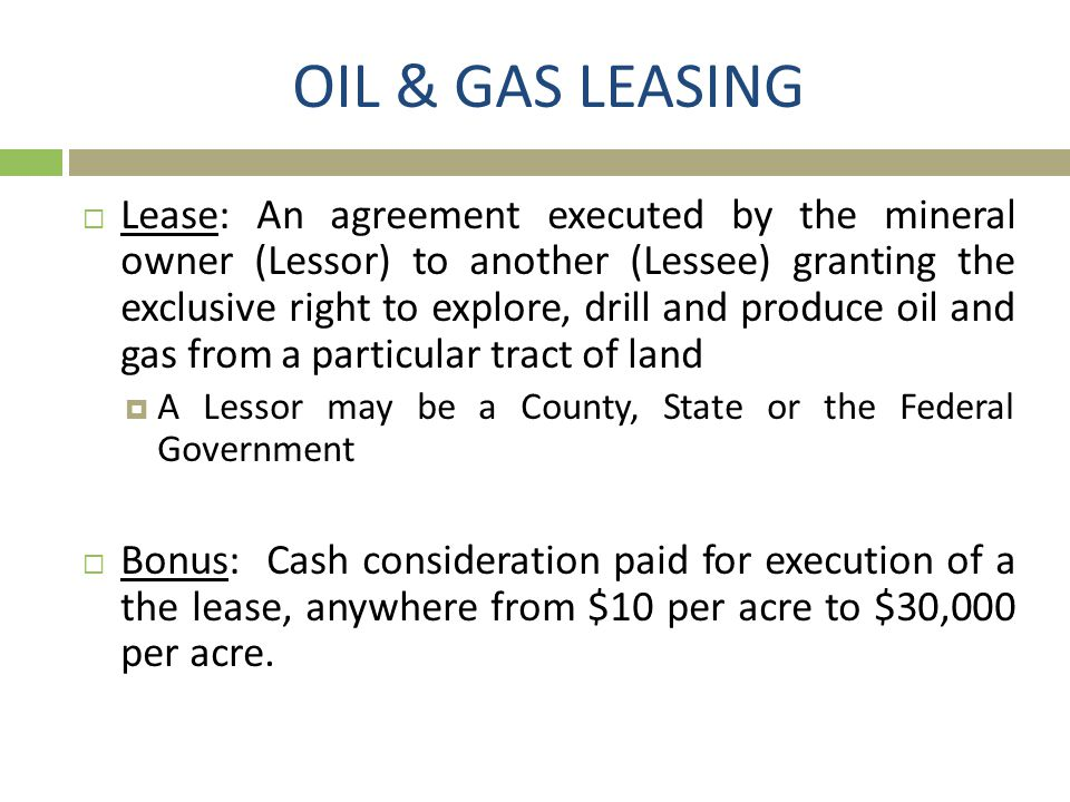 OIL & GAS LEASING