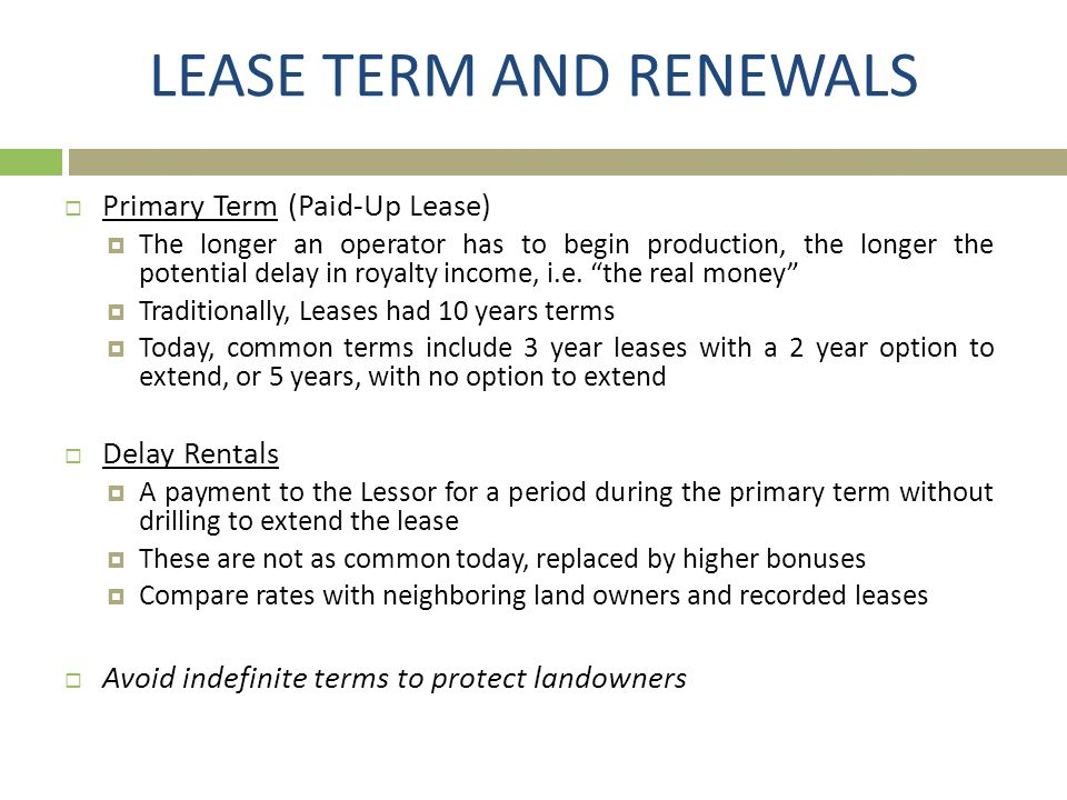 LEASE TERM AND RENEWALS