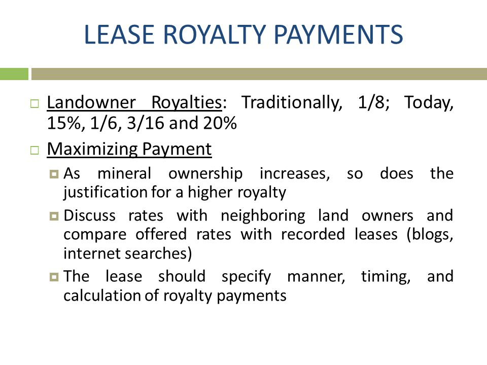 LEASE ROYALTY PAYMENTS