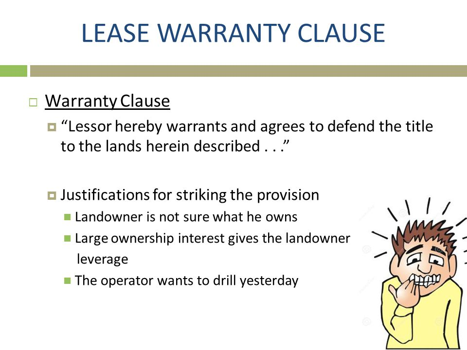 LEASE WARRANTY CLAUSE Warranty Clause