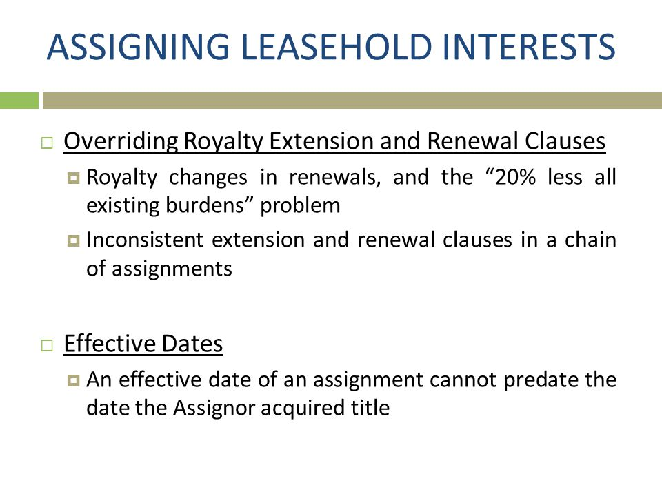 ASSIGNING LEASEHOLD INTERESTS