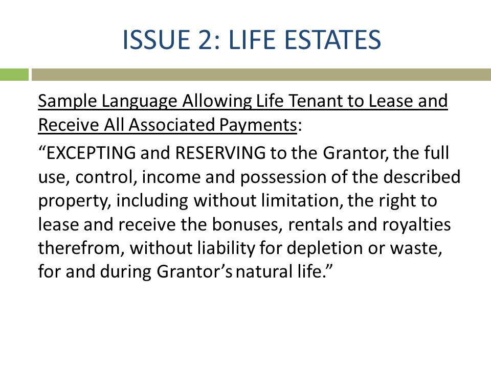 ISSUE 2: LIFE ESTATES