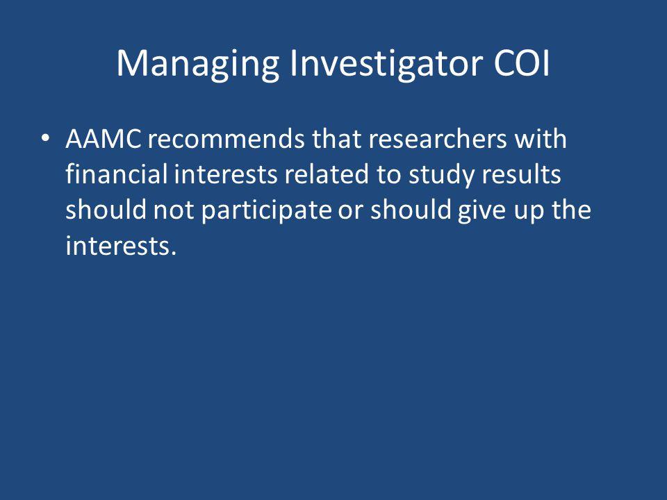 Managing Investigator COI