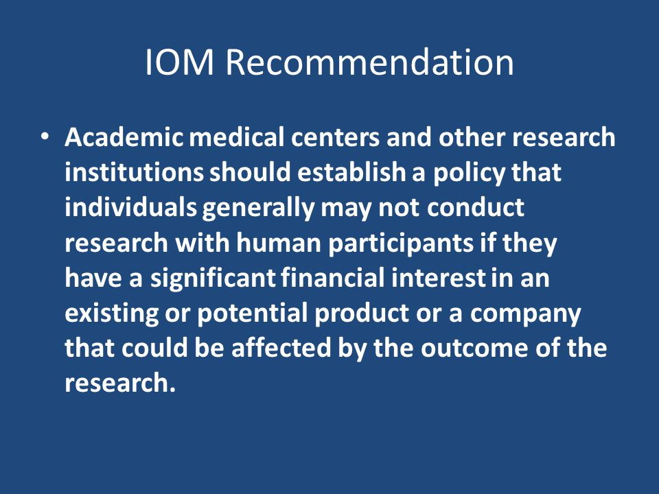 IOM Recommendation