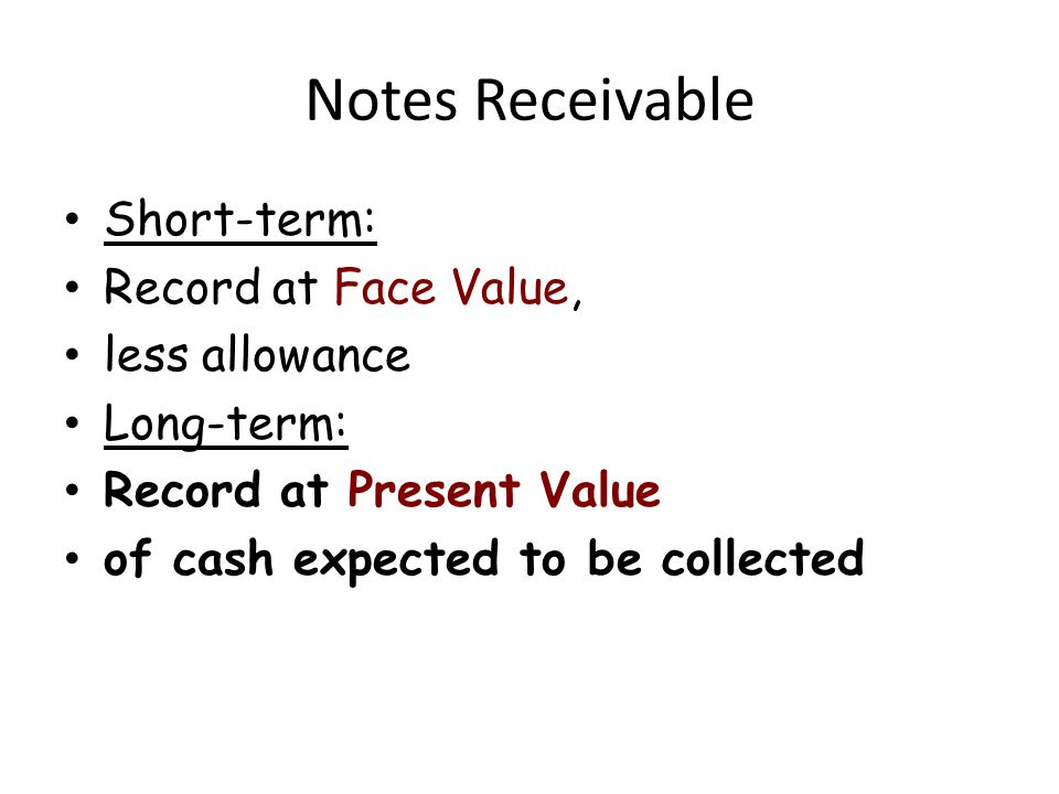 Notes Receivable Short-term: Record at Face Value, less allowance