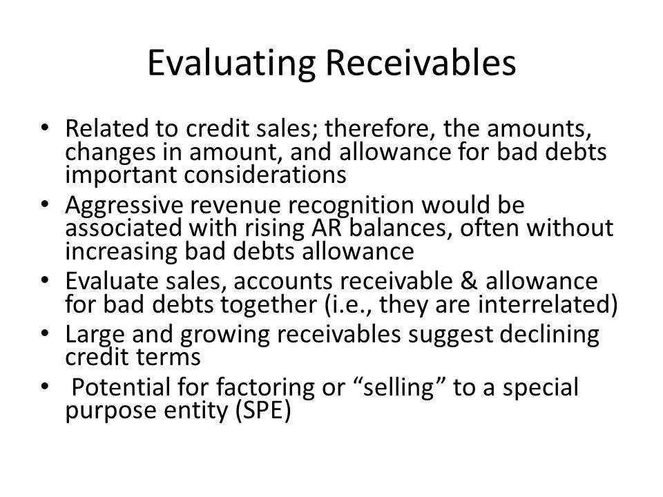 Evaluating Receivables