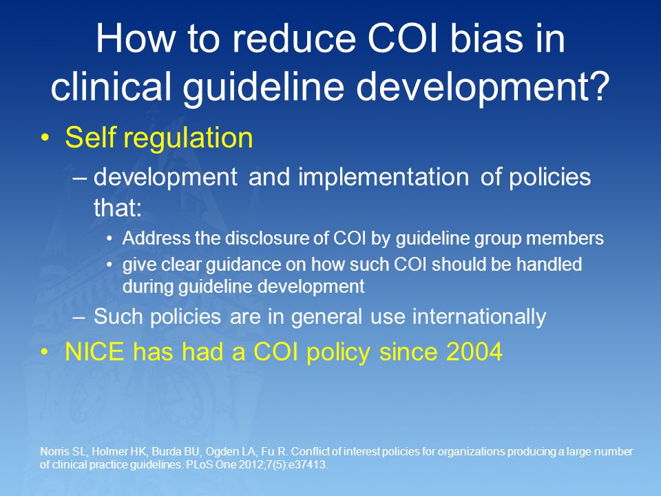 How to reduce COI bias in clinical guideline development