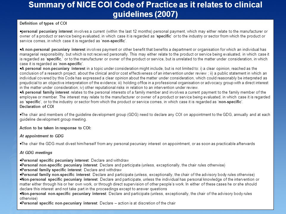 Summary of NICE COI Code of Practice as it relates to clinical guidelines (2007)