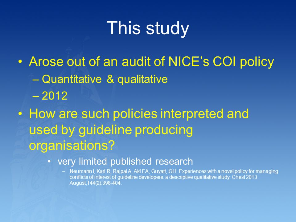 This study Arose out of an audit of NICE's COI policy