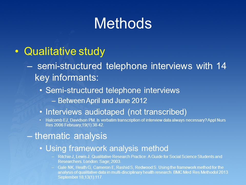 Methods Qualitative study