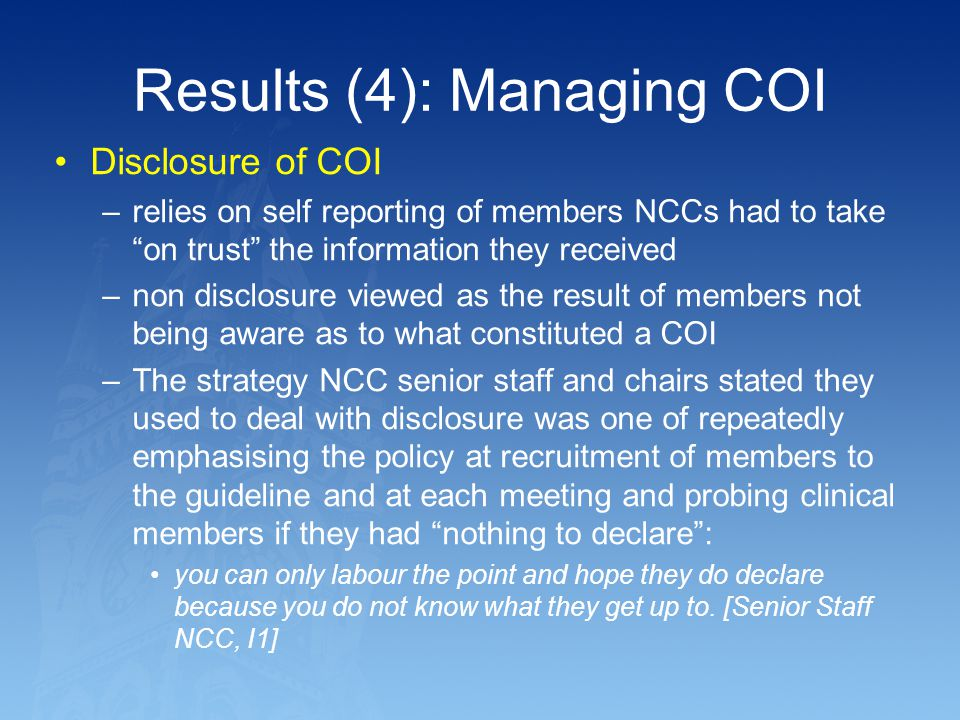 Results (4): Managing COI