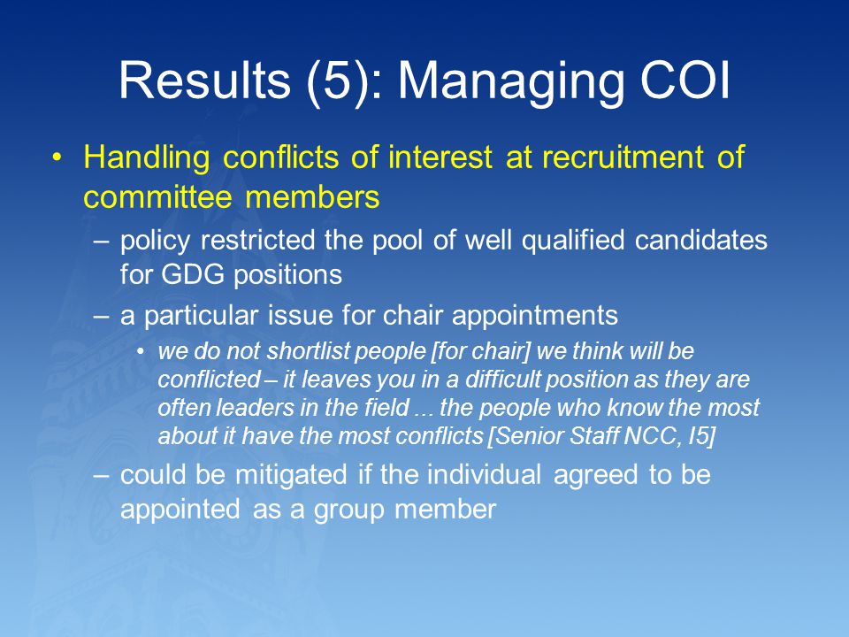 Results (5): Managing COI
