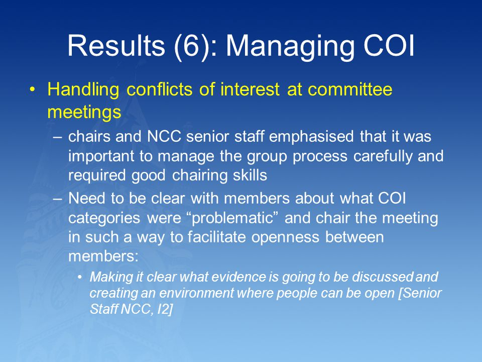 Results (6): Managing COI