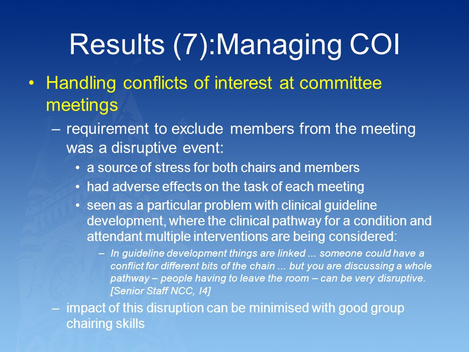 Results (7):Managing COI