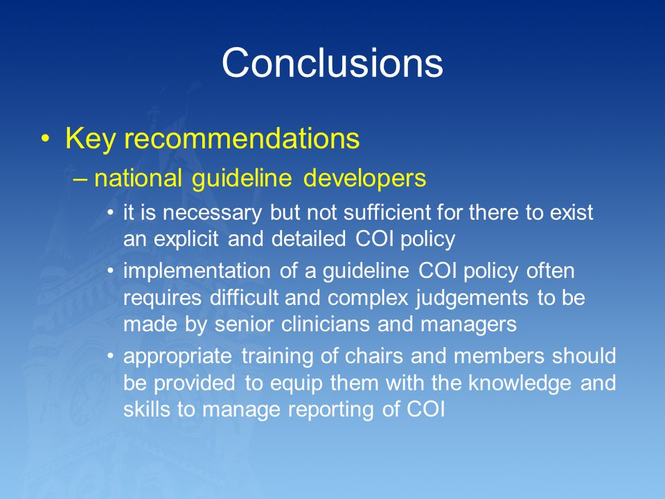 Conclusions Key recommendations national guideline developers