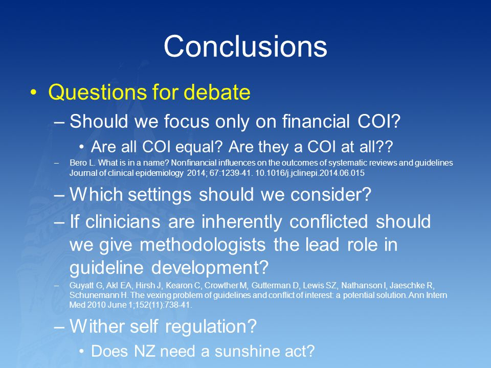 Conclusions Questions for debate