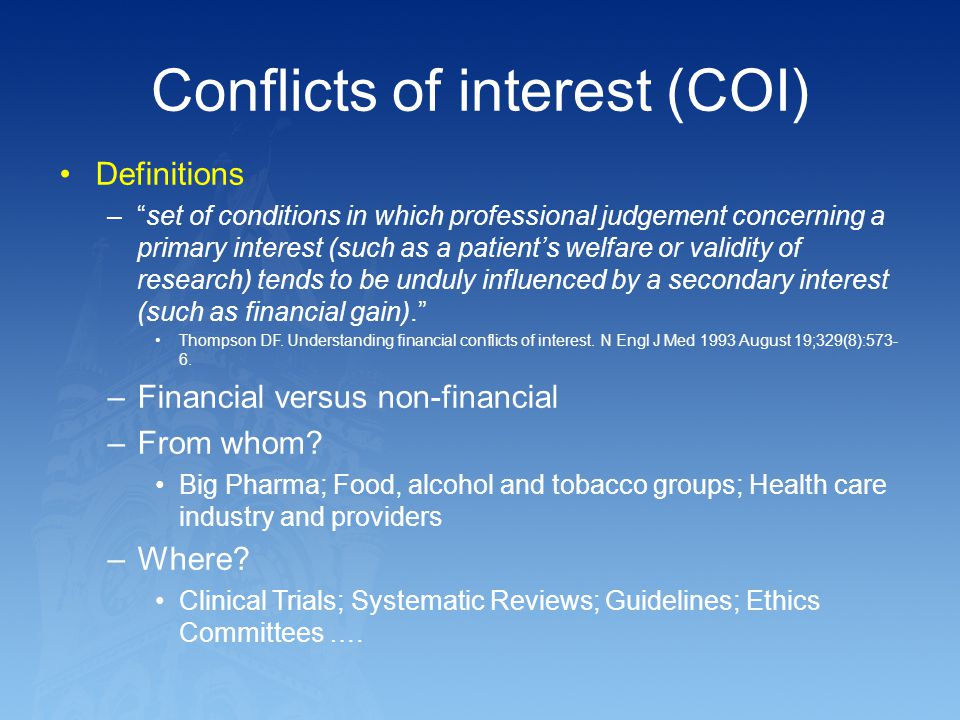 Conflicts of interest (COI)