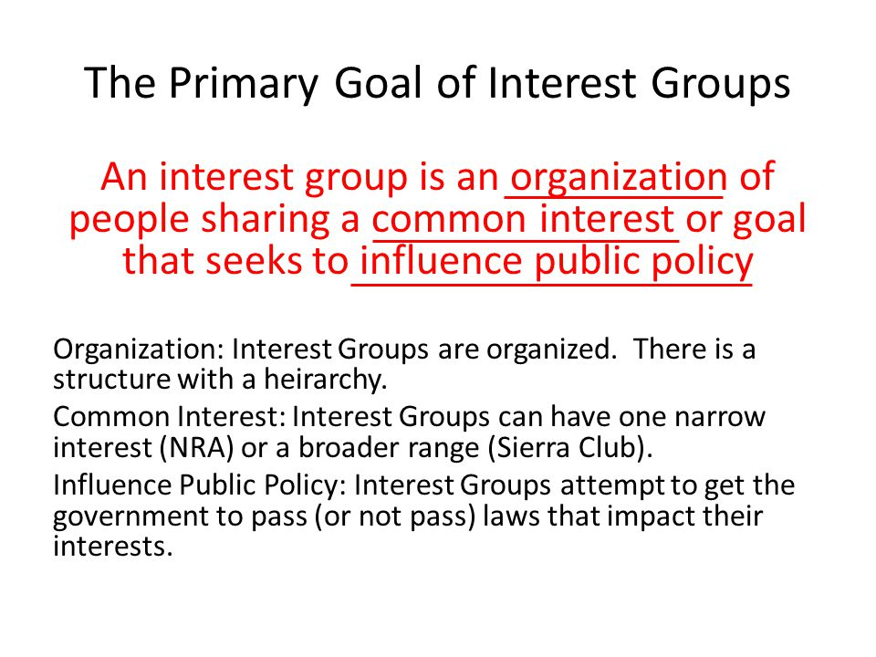 The Primary Goal of Interest Groups