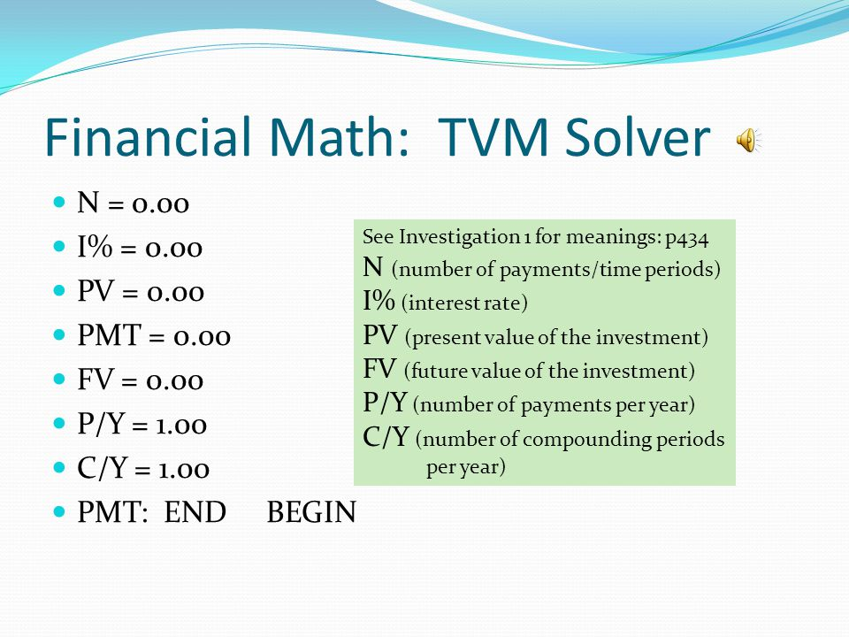 Financial Math: TVM Solver