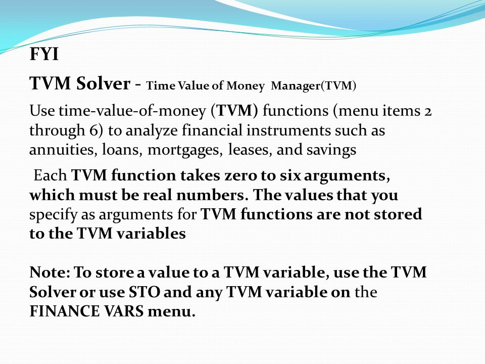 TVM Solver - Time Value of Money Manager(TVM)