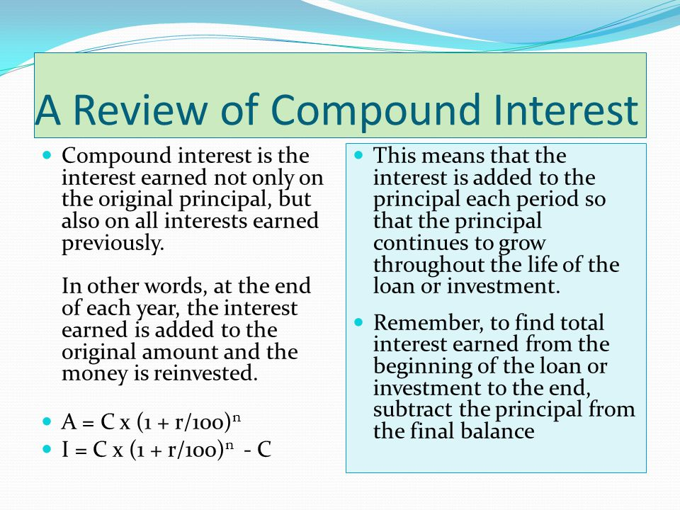 A Review of Compound Interest