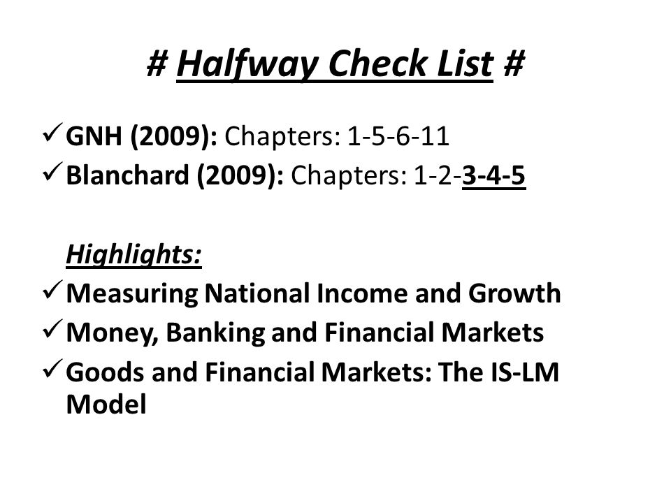 # Halfway Check List # GNH (2009): Chapters: 1-5-6-11