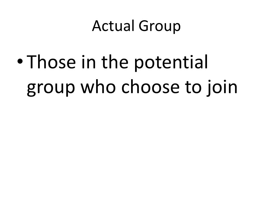 Those in the potential group who choose to join