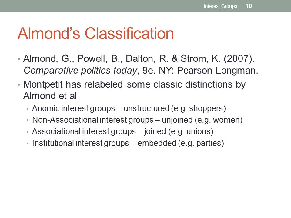 Almond's Classification
