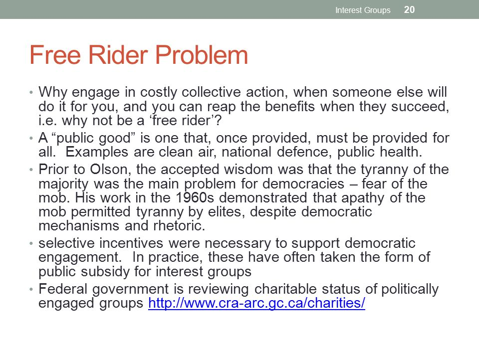 Interest Groups Free Rider Problem.