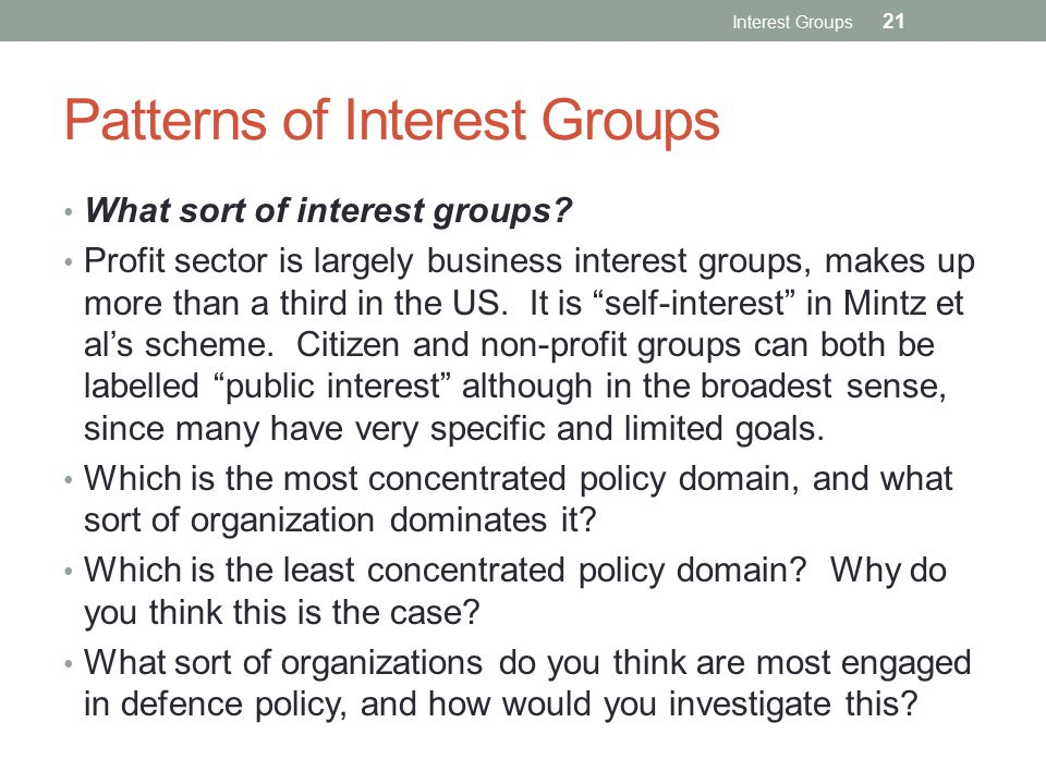 Patterns of Interest Groups